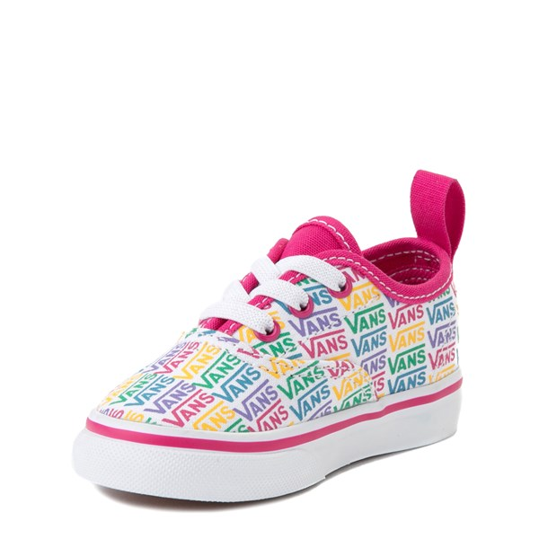 alternate view Vans Authentic Rainbow Text Skate Shoe - Baby / Toddler - Pink / RainbowALT3