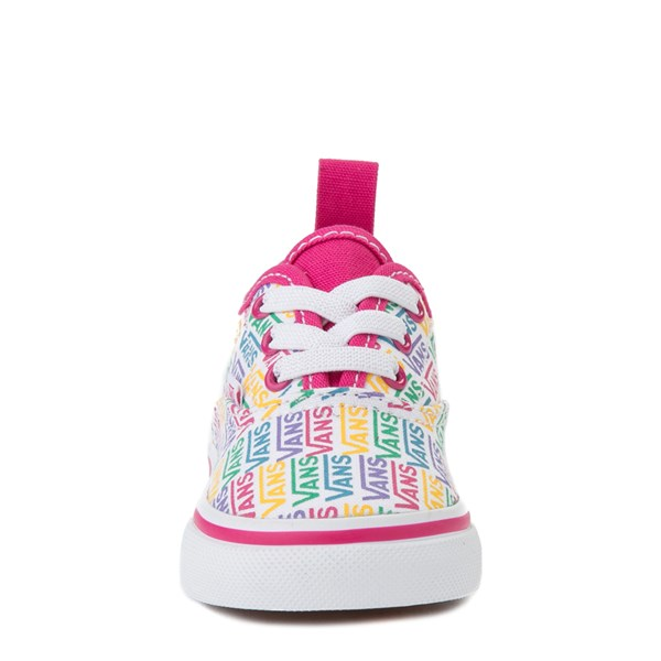 alternate view Vans Authentic Rainbow Text Skate Shoe - Baby / Toddler - Pink / RainbowALT4