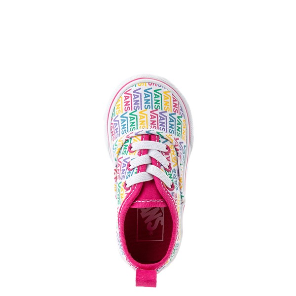 alternate view Vans Authentic Rainbow Text Skate Shoe - Baby / Toddler - Pink / RainbowALT4B