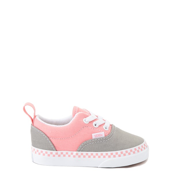 Vans Era Checkerboard Skate Shoe - Baby / Toddler - Drizzle Gray / Pink