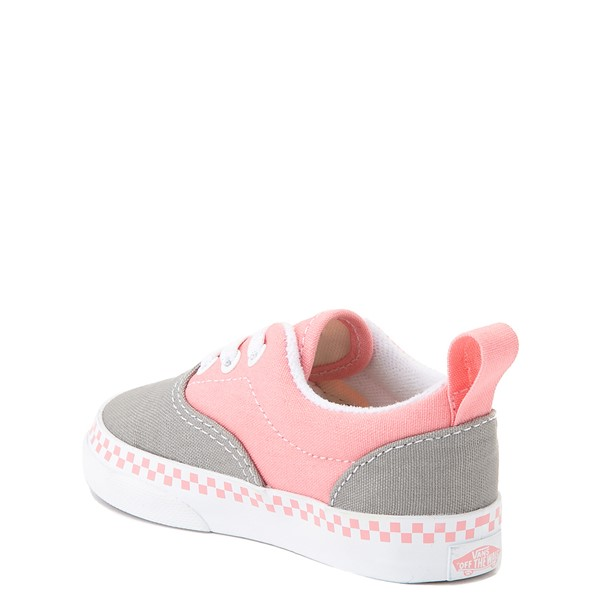 alternate view Vans Era Checkerboard Skate Shoe - Baby / Toddler - Drizzle Gray / PinkALT1