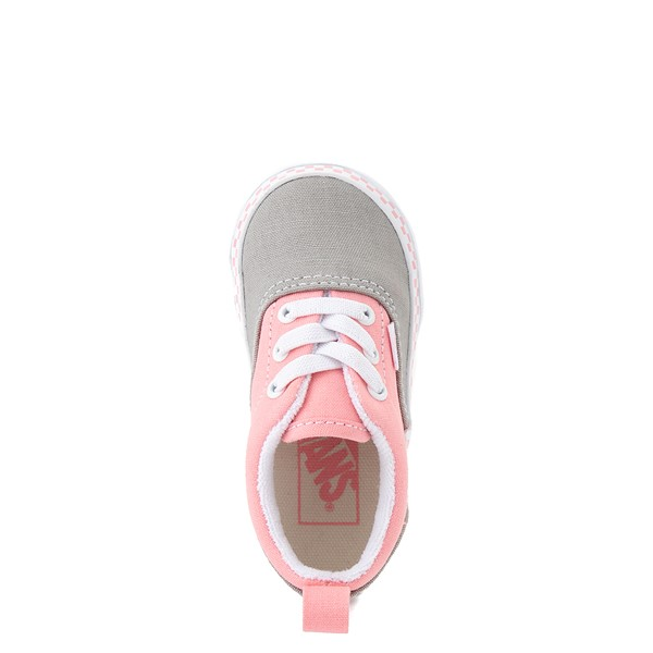 alternate view Vans Era Checkerboard Skate Shoe - Baby / Toddler - Drizzle Gray / PinkALT2