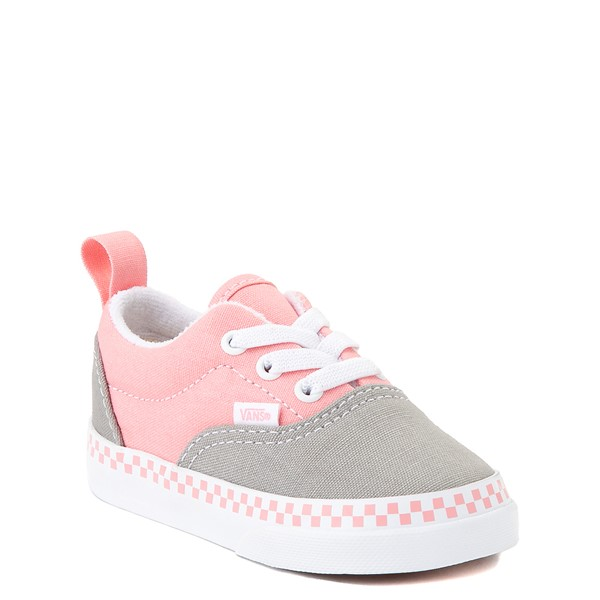 alternate view Vans Era Checkerboard Skate Shoe - Baby / Toddler - Drizzle Gray / PinkALT5