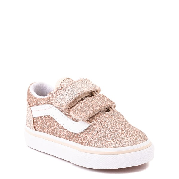 alternate view Vans Old Skool V Glitter Skate Shoe - Baby / Toddler - Brazilian SandALT5