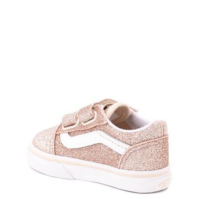 Alternate view of Vans Old Skool V Glitter Skate Shoe - Baby / Toddler - Brazilian Sand