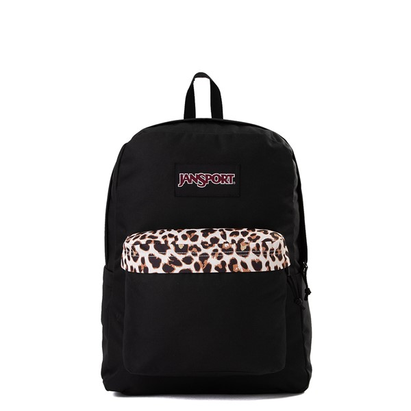 Main view of JanSport Superbreak Plus Backpack - Black / Leopard