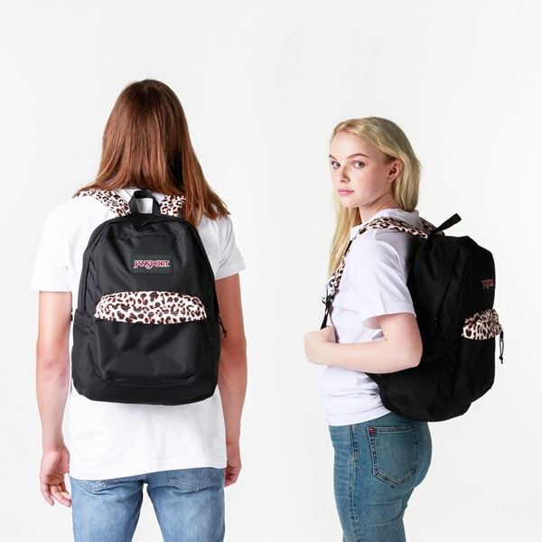 alternate view JanSport Superbreak Plus Backpack - Black / LeopardALT1BADULT