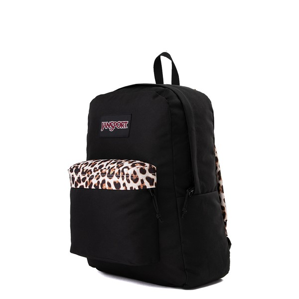 alternate view JanSport Superbreak Plus Backpack - Black / LeopardALT4
