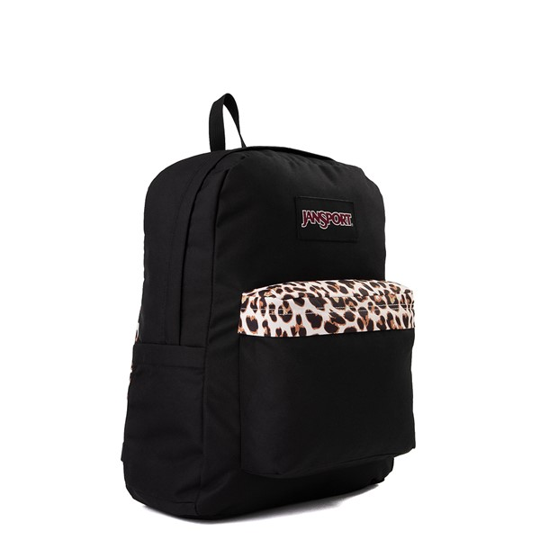 alternate view JanSport Superbreak Plus Backpack - Black / LeopardALT4B
