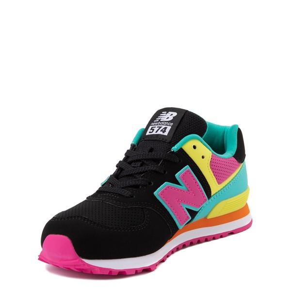 alternate view New Balance 574 Athletic Shoe - Little Kid - Black / Neon MulticolorALT3