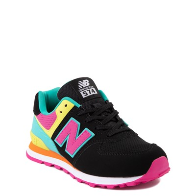 Alternate view of New Balance 574 Athletic Shoe - Little Kid - Black / Neon Multicolor