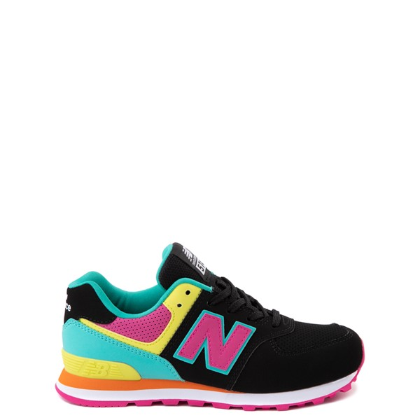 New Balance 574 Athletic Shoe - Big Kid - Black / Neon Multicolor