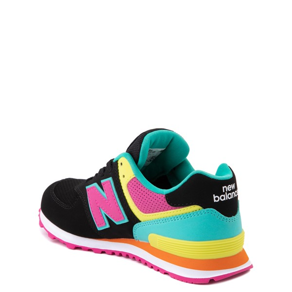 alternate view New Balance 574 Athletic Shoe - Big Kid - Black / Neon MulticolorALT1