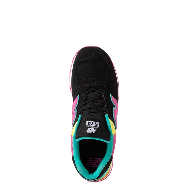 alternate view New Balance 574 Athletic Shoe - Big Kid - Black / Neon MulticolorALT4B