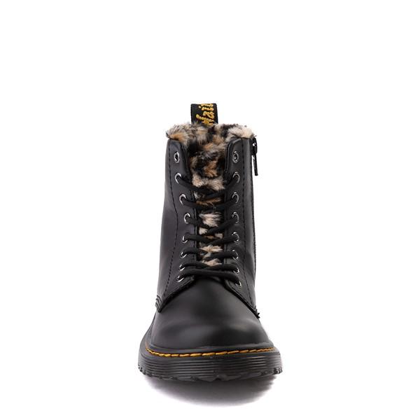 alternate view Dr. Martens 1460 8-Eye Serena Boot - Little Kid / Big Kid - Black / LeopardALT4