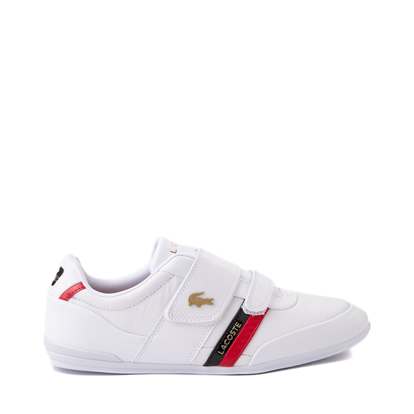 Mens Lacoste Misano Slip On Athletic Shoe - White / Navy / Red