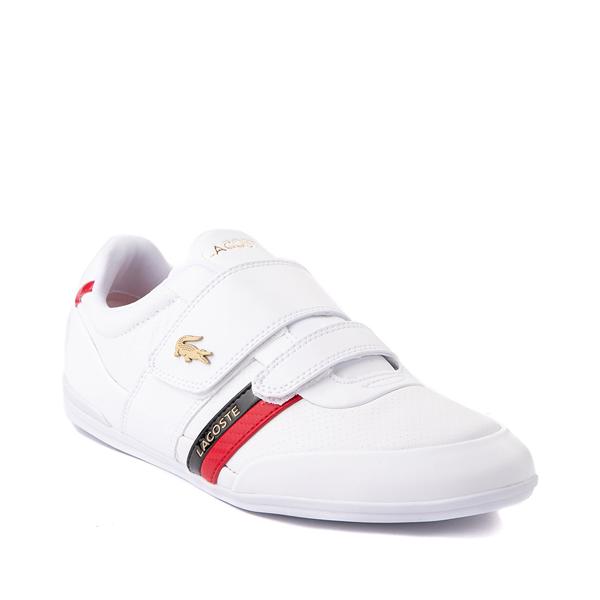 alternate view Mens Lacoste Misano Slip On Athletic Shoe - White / Navy / RedALT5