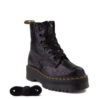 Alternate view of Womens Dr. Martens Molly Iridescent Crackle Boot - Black