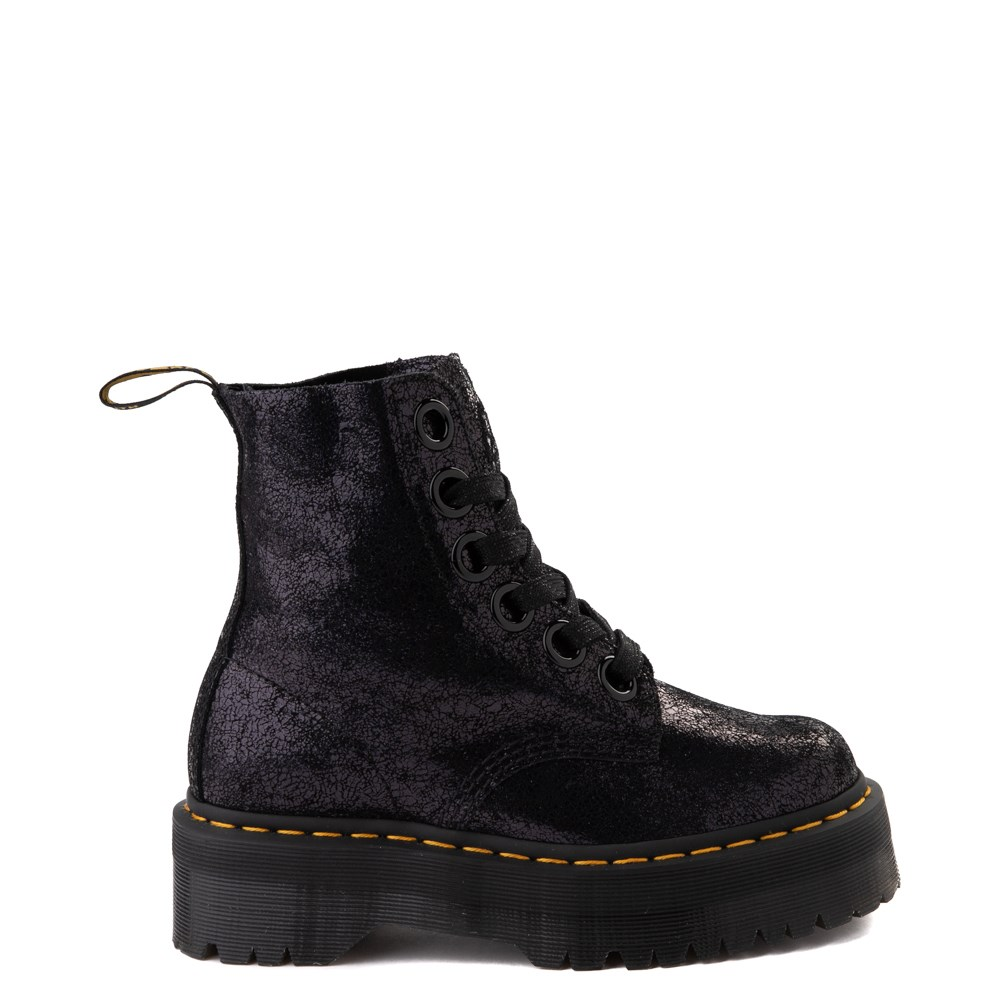 Womens Dr. Martens Molly Iridescent Crackle Boot - Black
