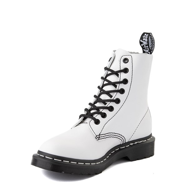 alternate view Womens Dr. Martens 1460 Pascal 8-Eye Boot - White / BlackALT3