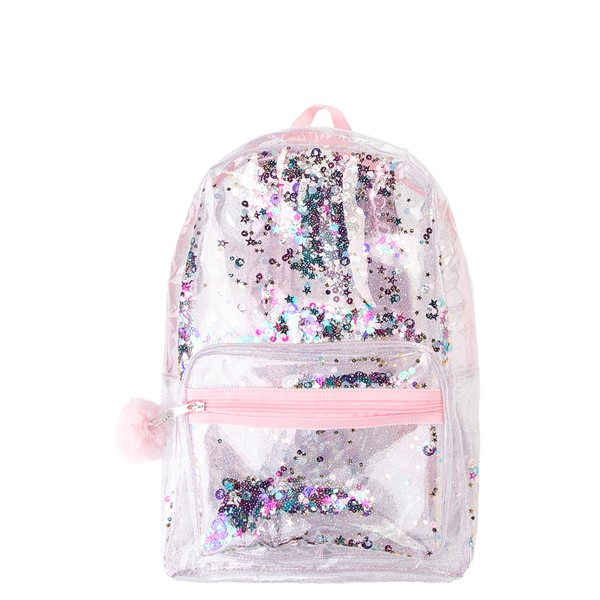 Main view of Shaky Glitter Backpack - Clear / Pink