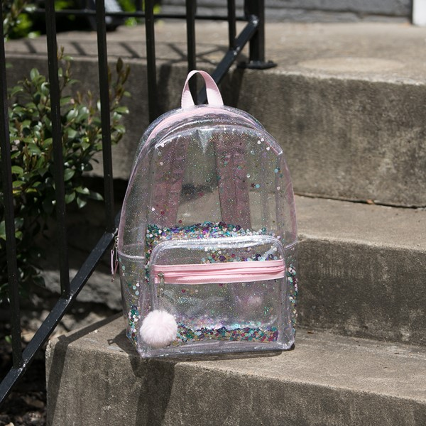 alternate view Shaky Glitter Backpack - Clear / PinkALT1BB