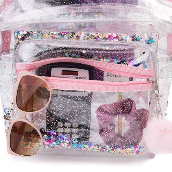 alternate view Shaky Glitter Backpack - Clear / PinkALT3