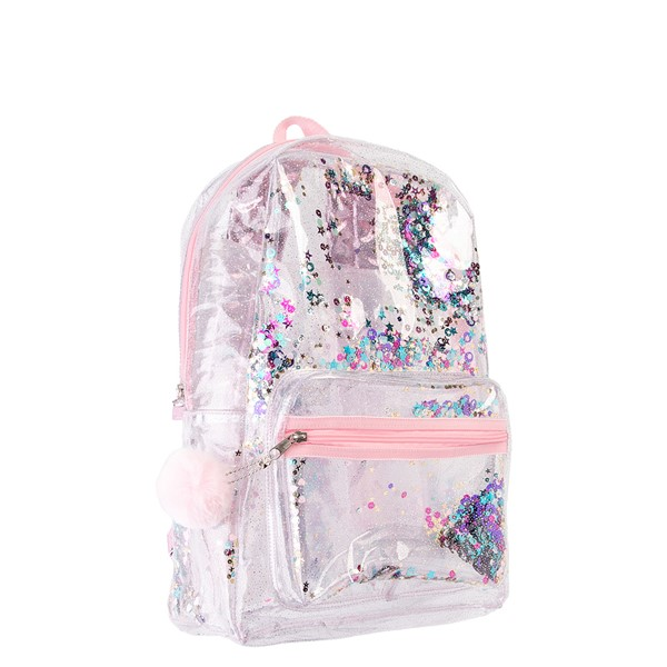 alternate view Shaky Glitter Backpack - Clear / PinkALT4B