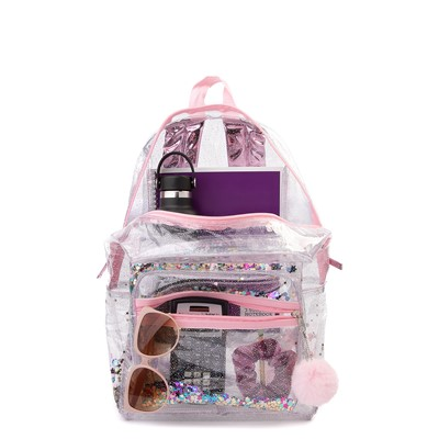 Alternate view of Shaky Glitter Backpack - Clear / Pink