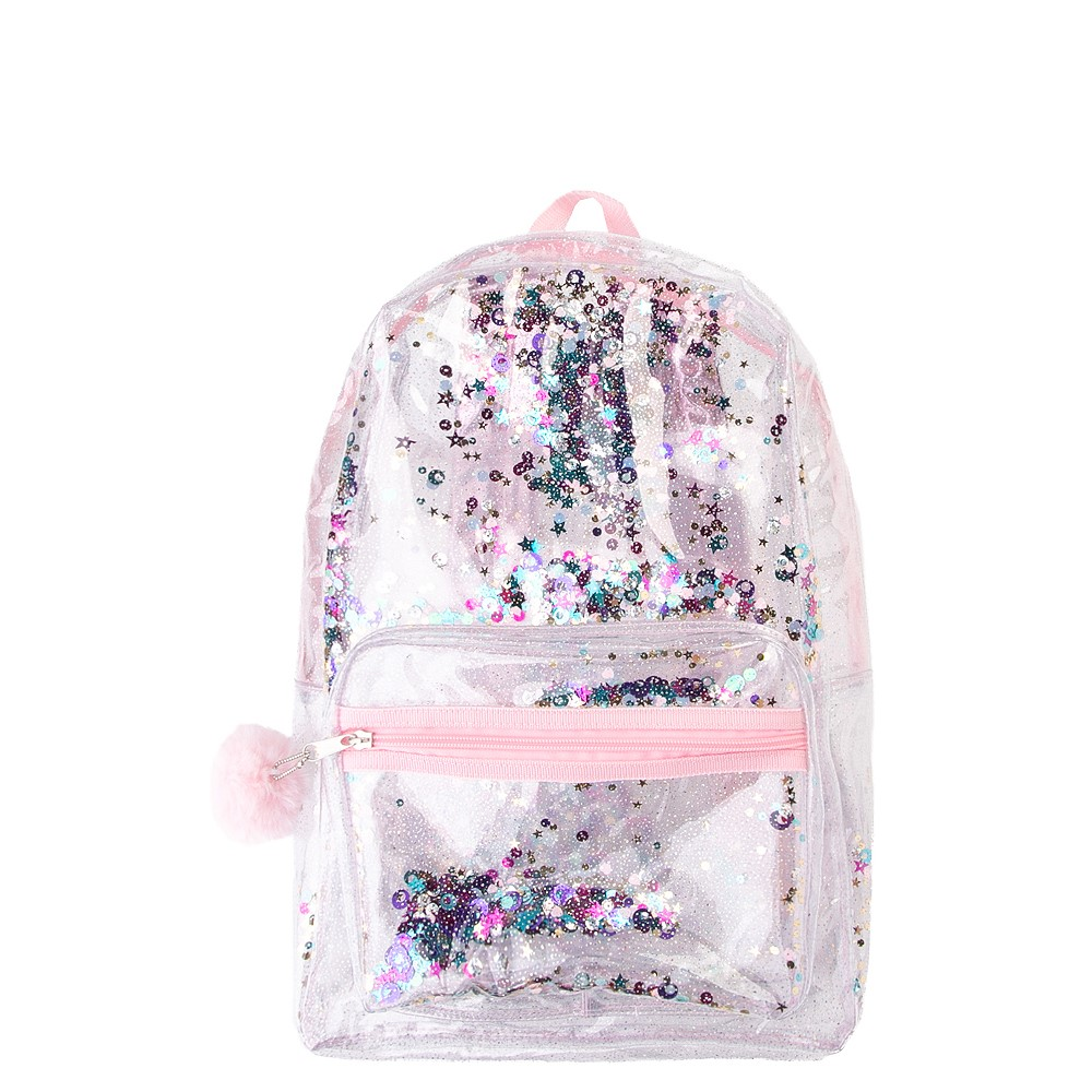 Shaky Glitter Backpack - Clear / Pink