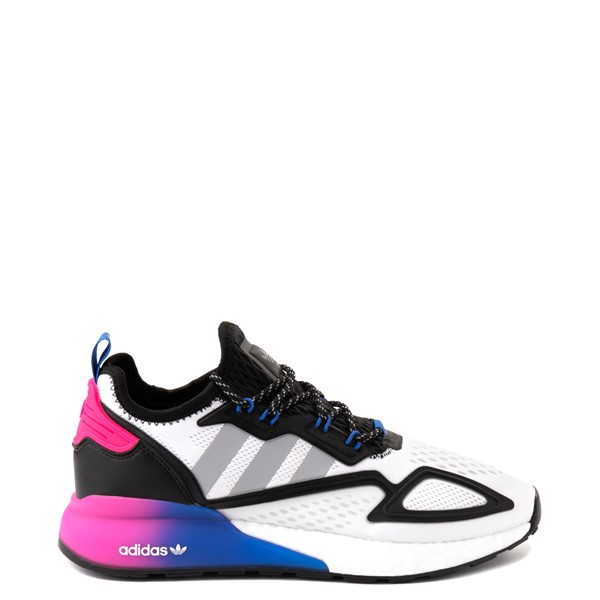 Mens adidas ZX 2K Boost Athletic Shoe - Cloud White / Pink / Blue