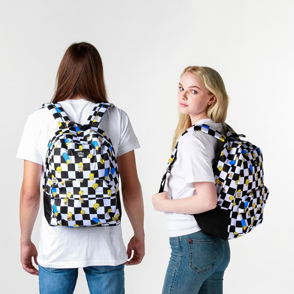 alternate view Vans x The Simpsons Old Skool Checkerboard Backpack - Black / WhiteALT1BADULT