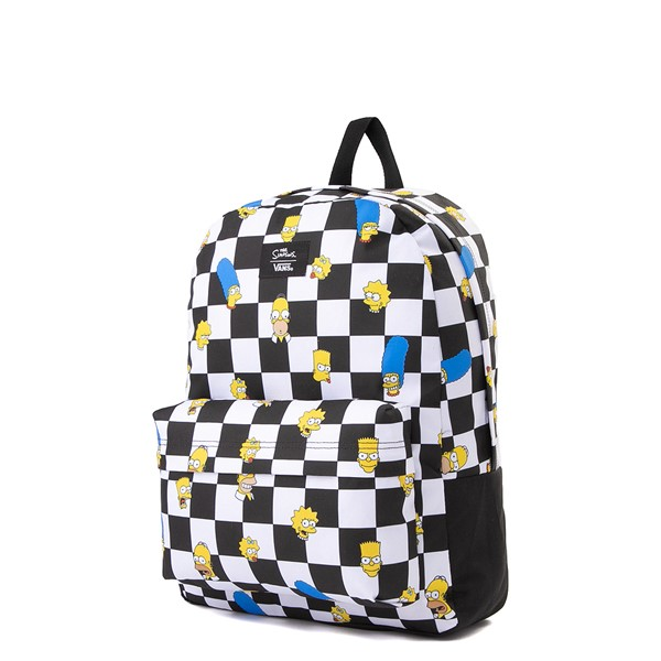 alternate view Vans x The Simpsons Old Skool Checkerboard Backpack - Black / WhiteALT4
