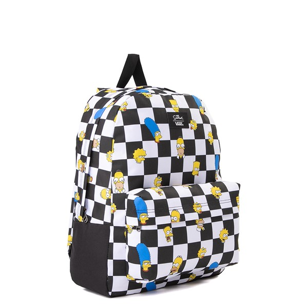 alternate view Vans x The Simpsons Old Skool Checkerboard Backpack - Black / WhiteALT4B