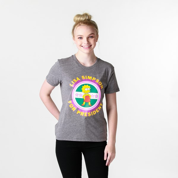 Main view of Womens Vans x The Simpsons Lisa for President Tee - Heather Gray
