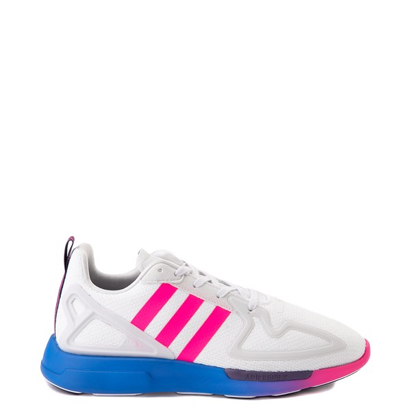 Womens adidas ZX 2K Flux Athletic Shoe - White / Blue / Pink Gradient