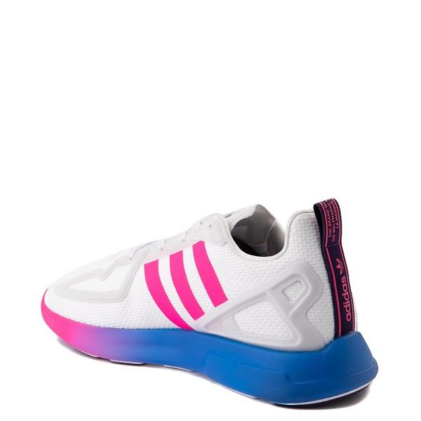 alternate view Womens adidas ZX 2K Flux Athletic Shoe - White / Blue / Pink GradientALT2