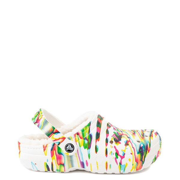Main view of Crocs Classic Fuzz-Lined Clog - White / Splatter
