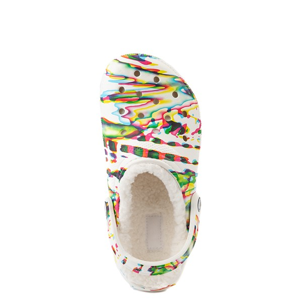 alternate view Crocs Classic Fuzz-Lined Clog - White / SplatterALT2
