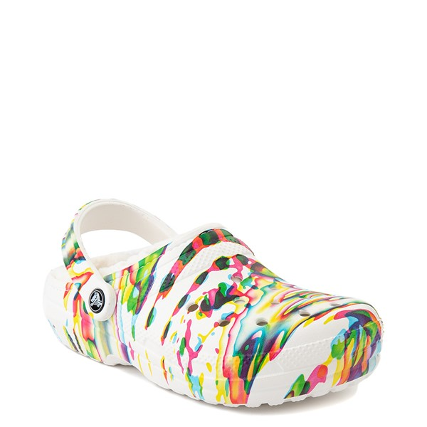 alternate view Crocs Classic Fuzz-Lined Clog - White / SplatterALT5