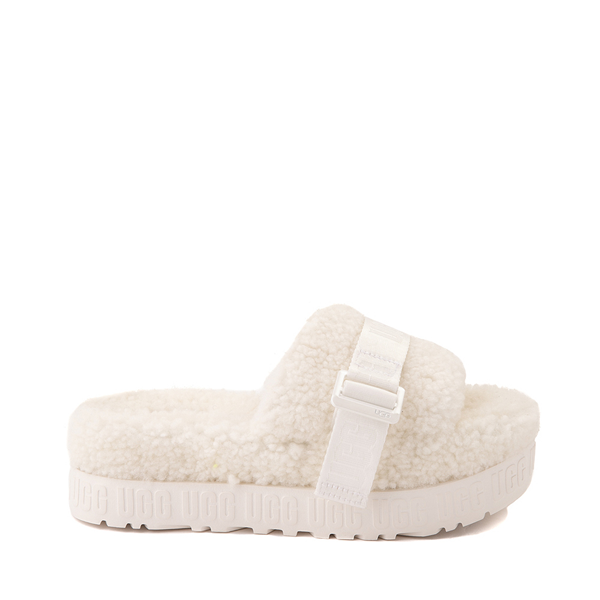 Main view of Womens UGG® Fluffita Slide Sandal - White