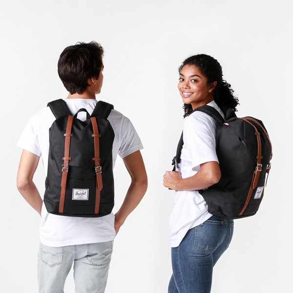 alternate view Herschel Supply Co. Retreat Backpack - Black / Saddle BrownALT1BADULT