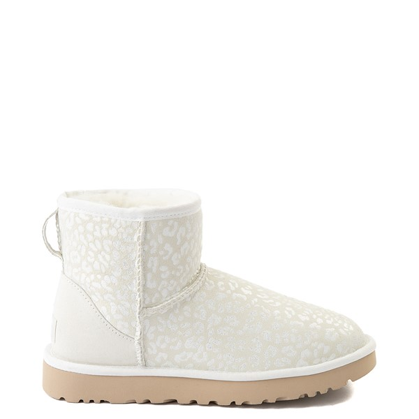 Main view of Womens UGG® Classic Mini Snow Leopard Boot - White