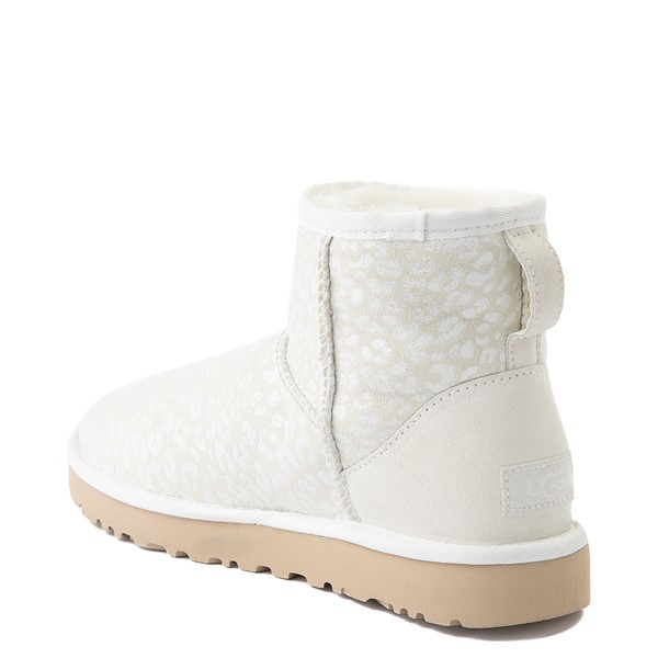 alternate view Womens UGG® Classic Mini Snow Leopard Boot - WhiteALT1