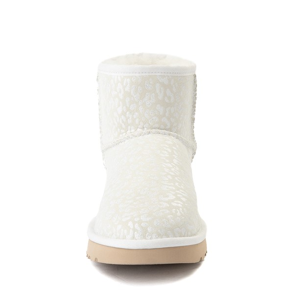 alternate view Womens UGG® Classic Mini Snow Leopard Boot - WhiteALT4