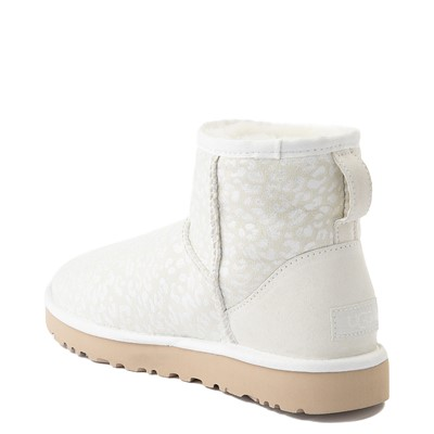 Alternate view of Womens UGG® Classic Mini Snow Leopard Boot - White