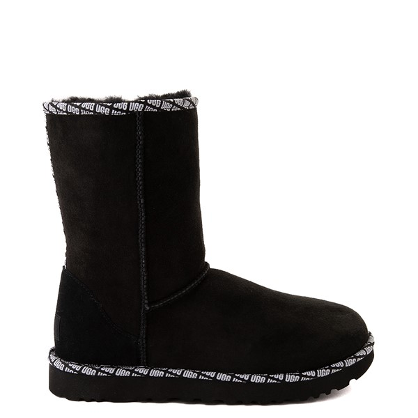 Main view of Womens UGG® Classic Short II Logo Trim Boot - Black