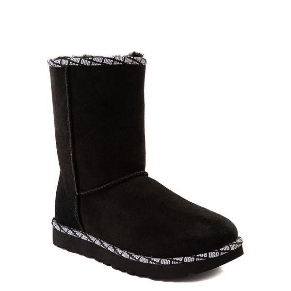 alternate view Womens UGG® Classic Short II Logo Trim Boot - BlackALT5