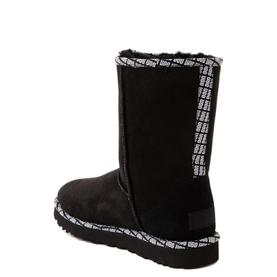 Alternate view of Womens UGG® Classic Short II Logo Trim Boot - Black