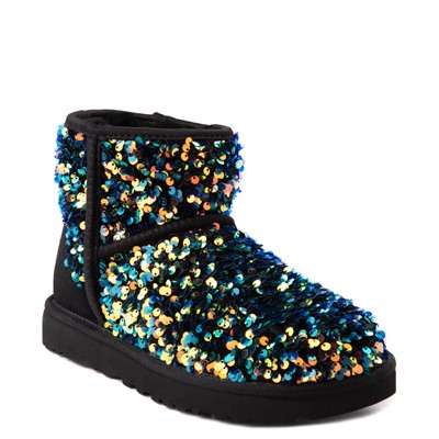 Alternate view of Womens UGG® Classic Mini Stellar Sequin Boot - Black